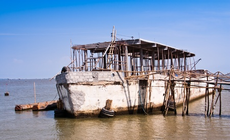lift lock: Vessel made of concrete  Construction to be a restaurant  Editorial