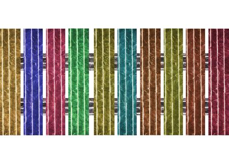 Brick fence of multi colored isolated on white background Stock Photo - 13061598