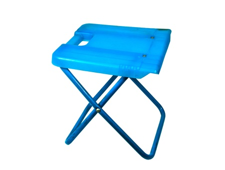 Blue folding chair isolated on white background photo