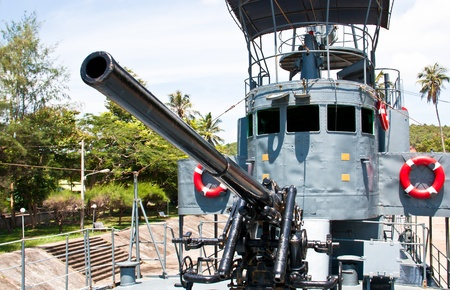 Guns on a battleship  Was set on display at the South of Thailand