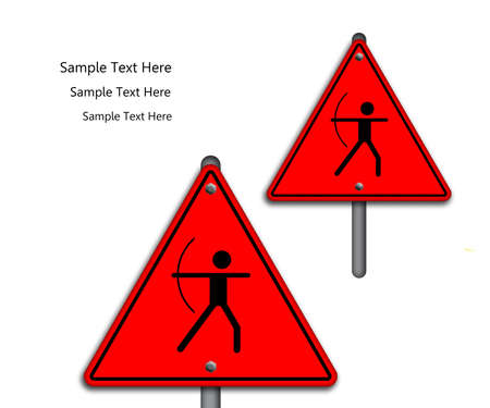 Archery icon in traffic plate isolated on white background  Stock Photo