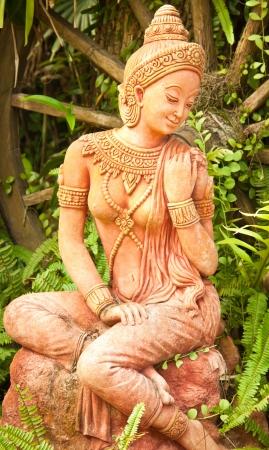 show garden: Statue of a woman  In ancient Thai literature