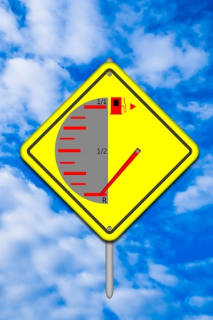 Fuel runs out Traffic sign isolated on sky background  photo