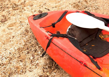 Kayaks on the beach  Get ready to be used in the game sport  And is regarded as one of the sport  Stock Photo