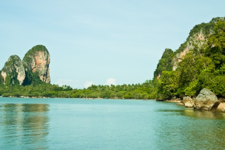 A view of the sea to the mountains of Krabi Province, southern Thailand  photo