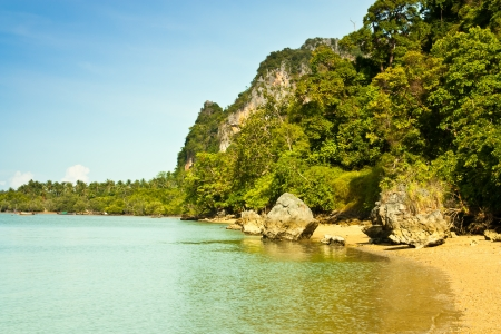 southern of thailand: A view of the sea to the mountains of Krabi Province, southern Thailand