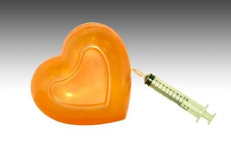 thrust: Syringe thrust into the heart