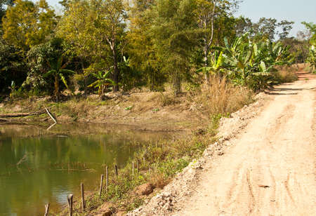 The dirt roads of rural villagers in Thailand  photo