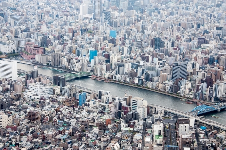 High angle view of the business district in Japan