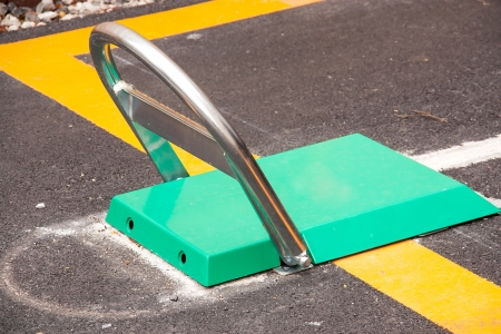 Barrier steel blocking on the road Stock Photo