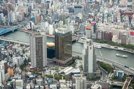 High angle view of the business district in Japan.