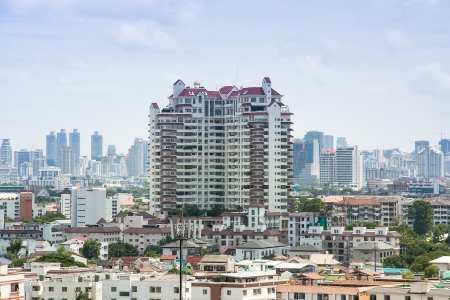 mile high city: High angle view of the business district in thailand.