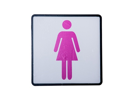 Womens room sign isolated on white background. photo