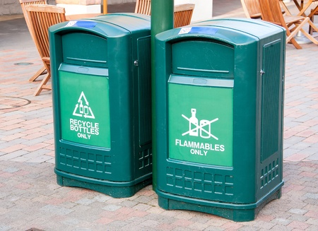 Only bins made of plastic placed in the public Stock Photo - 21449326