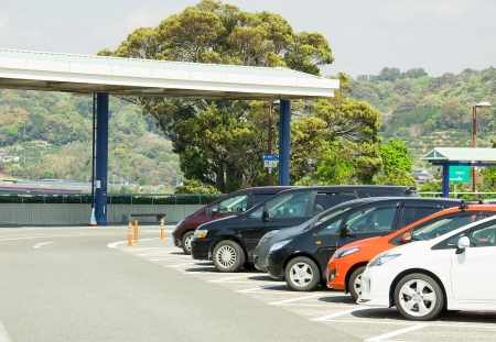 Cars on a parking lot in japan Stock Photo