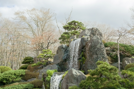 Rocks and waterfall in the garden in japan
