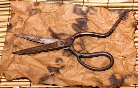 Scissors for cutting leather on  old paper background Stock Photo - 24254487