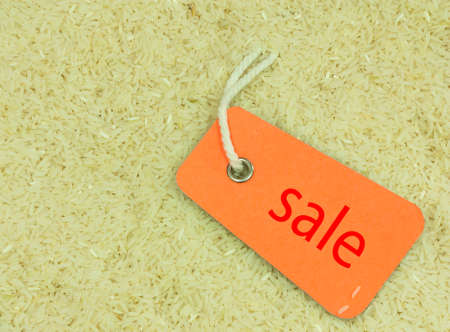 Sale sign  in white long rice background, Stock Photo