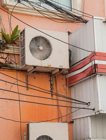 units: Air conditioners condenser units outdoor on wall