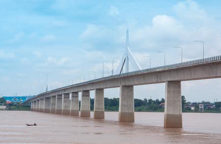 bridge across the river between Thailand and Laos. Stock Photo