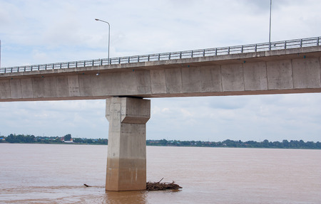 bridge across the river between Thailand and Laos. Stock Photo