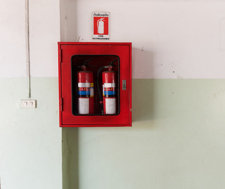 fire extinguishing: fire extinguishing equipment install on the wall