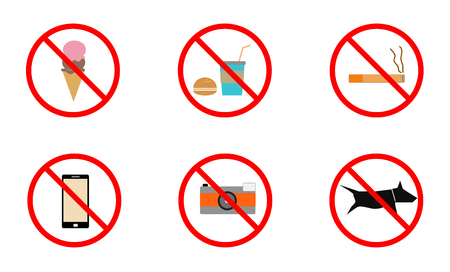No smoking, No cell phone, No dogs and No eating prohibited signs, Signs forbidding different actions in various places. Vector.