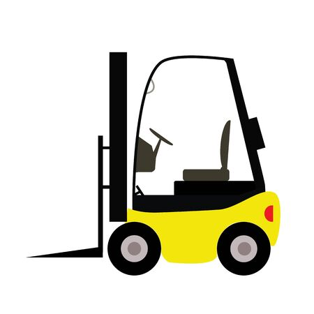 fork lift: fork lift truck in trendy flat style isolated on white background. fork lift sign.