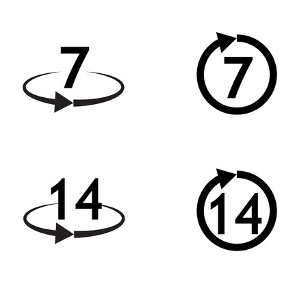 Return of goods within 7 or 14  days sign icon. Warranty exchange symbol.