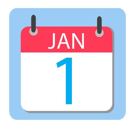 january 1st: 1 January Calendar. Red Calendar icon. New Year.