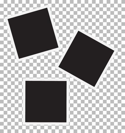old photograph: three blank retro photo frames.