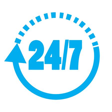 247 elementen. Pictogram 24 uur per dag en 7 dagen per week geopend. Platte pictogram geïsoleerd op een witte achtergrond. Stock Illustratie