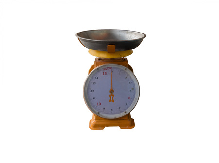 Spring scales on white background. dial spring scale on white. Stock Photo