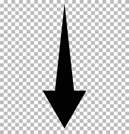 Black down arrow on transparent. down arrow. black down arrow sign.  イラスト・ベクター素材