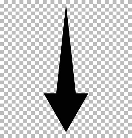 Black down arrow on transparent. down arrow. black down arrow sign. Vettoriali