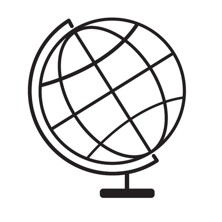 Terrestrial globe icon on white background. terrestrial globe symbol. globe sign. flat style. Illustration