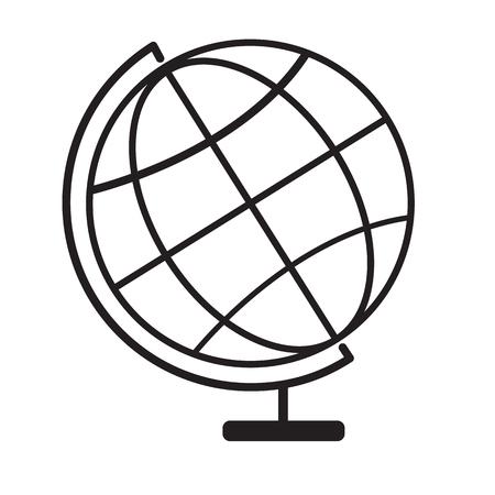 Terrestrial globe icon on white background. terrestrial globe symbol. globe sign. flat style. Çizim