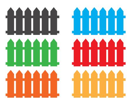 Colorful fences on white background. Vector illustration. Illustration