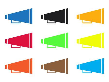 Set van gekleurde megafoonpictogrammen Stock Illustratie