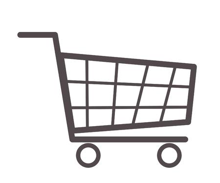 Shopping cart icon on white background.