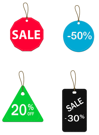 Four colored price tags. price tags icon for your web site design