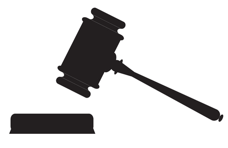 Auction hammer symbol. Law judge gavel icon. Flat design style. Vectores