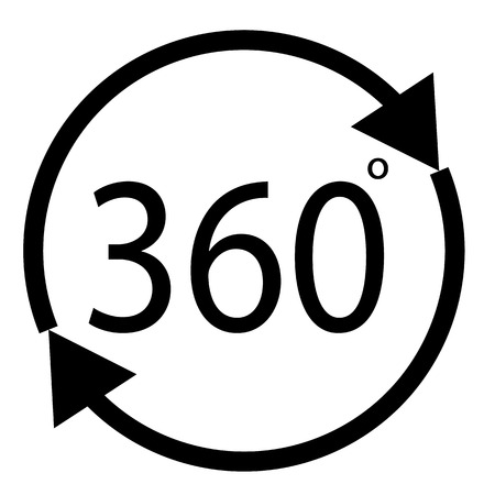 rotate 360 degrees icon on white background. Ilustração