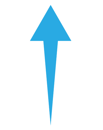 blue up arrow on white background.  up arrow sign.