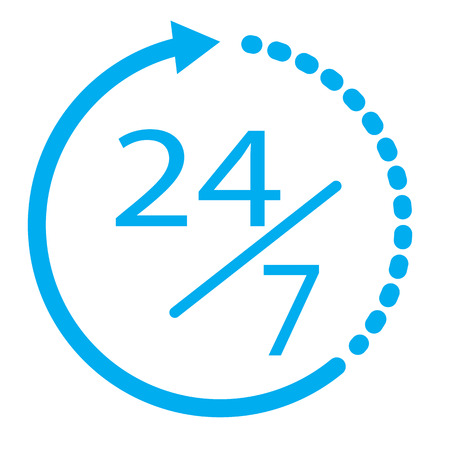 247 elements open 24 hours a day and 7 days a week icon.