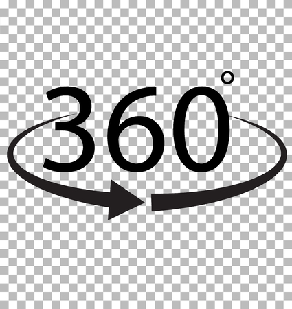 360 Degree icon on transparent background. 360 Degree sign. 360 symbol. Ilustração
