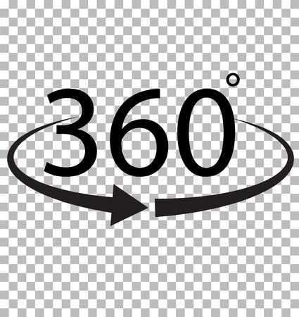 Icono de 360 grados en fondo transparente. Signo de 360 grados Símbolo 360