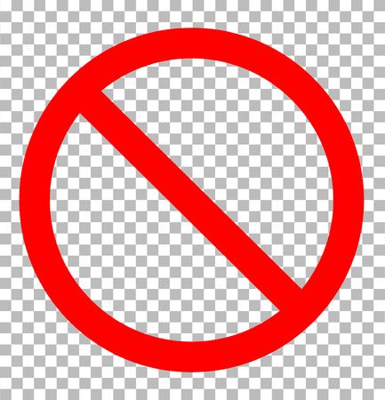 Señal de prohibición transparente. Icono de señal de prohibición estilo de diseño plano. Señal de prohibición firmar. Ilustración de vector