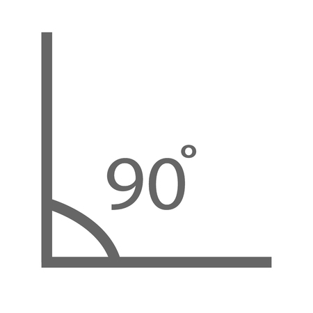 Angle 90 degrees icon on white background.