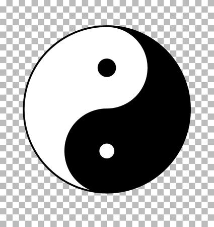 Yin yang on transparent background in flat style. Ilustrace